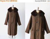 SALE Vintage 1960s Brown Wool Coat with Mink Trim / Houndstooth /  Half Belt Back