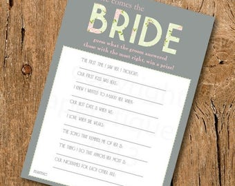 10% Sale INSTANT UPLOAD - Bridal Shower Game - Here Comes The Bride - Pink, Green and Gray Wedding Shower Game, Bridal Shower Game, Pastel B