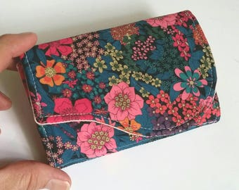 Beautiful Floral Handmade Small Business Card and Gift Card Case Liberty of London fabric print