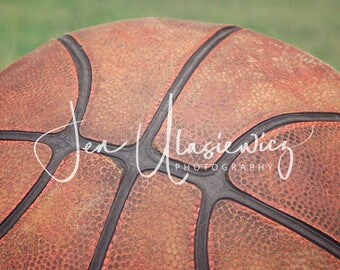 Vintage Basketball in Grass Sports Photography Print, macro, man cave, boys room, nursery, still life