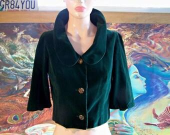 Velvet Jacket, Emerald, Crop, Jacket, Holiday, Vintage, size S