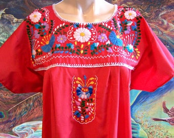 Mexican Dress, Embroidered, Red, Flowers, Christmas, size L/XL
