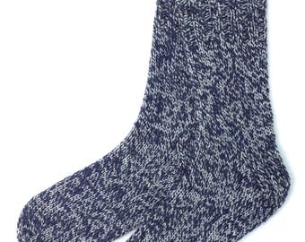 Navy Blue and Gray Socks for Women and Girls, hand knit, knitted,  worsted weight, wool and nylon, ragg wool, ribbed, heavy sock, gift women