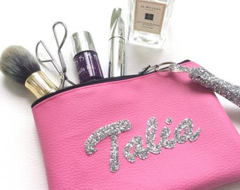 Custom Made Vegan Leather Personalised Makeup Cosmetics Bag with Glitter Name