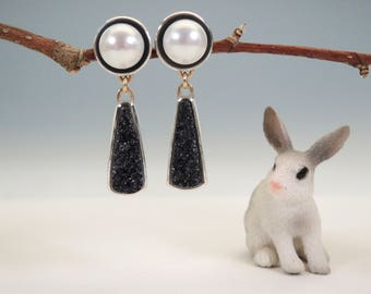 Elegant Black Druzy and Pearl Earrings, Sterling Silver,14kt Gold