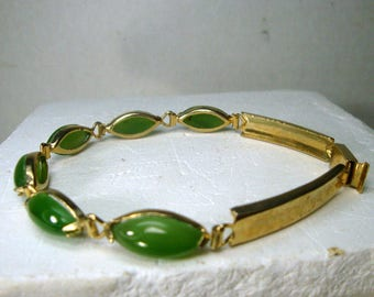 Green Jade Stone Linked Bangle Bracelet with Gold Accents, 1980s Classic Asian Chinese. Used, Not Perfect, Priced AS IS