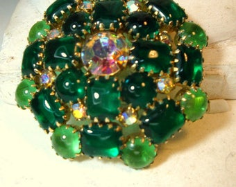 Irish Green Rhinestone And Aurora Borealis Flashy GLASS Brooch, Emerald and 2 More Colors St Patricks Day Round Pin, 1970s