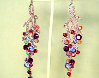 Long Rhinestone Earrings, Flashy Ridiculously Long Pink, Garnet Red & Aurora Borealis Floral Dangles, Posts, Make That Entrance Girlfriend