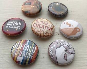 Creative Mornings/Buffalo: Assorted Buttons 7/pk