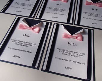 Set of 6 Suspender and Bow Tie card for wedding- Will You Be My Best Man, Groomsman Card- Usher-Ring Bearer- custom colors