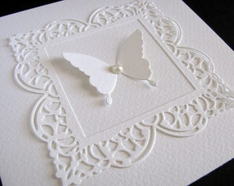 Lacy Filigree Frame on Creamy Ivory Card with 3D Butterfly as Shown or Your Colour Choice / 5.5 inches square / Made to Order