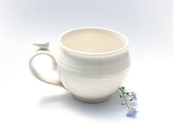 Large Handmade Latte Mug //Stoneware Coffee Mug in Creamy White with a White Bird Thumbrest
