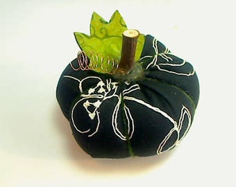 Size 4 |Black & White Fabric Pumpkin |Halloween Decor |Fall Decor |Thanksgiving Decor |Handmade |Goth decor |Shelf Sitter | Bowl Filler| # 7