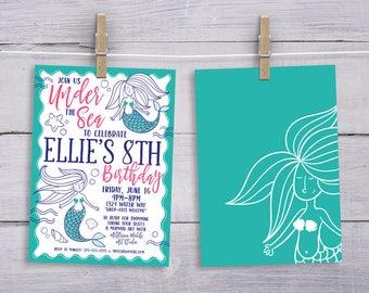 Mermaid Party Invitation Ocean Girl Birthday Pool Party Teen Tween DIY Illustration