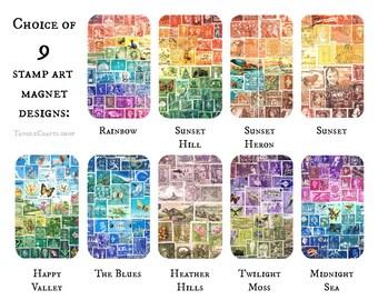 Stamp Art Fridge Magnet • Postage Stamp Print Party Favours