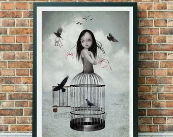 A3 Art print - Large Print - Lowbrow Art - Wall Decor - Girl And Birds - Bird Art - The One They Left Behind