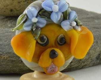 DOG, lentil shaped bead, flower  Glass Sculpture Collectible, Focal Bead, Izzybeads SRA