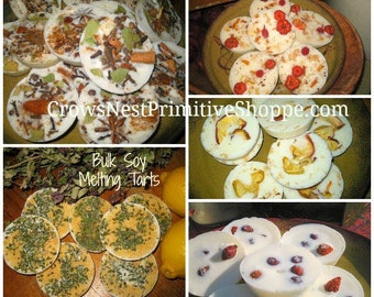 Bulk Natural Soy Melting Tarts- set of 12 melting tarts made with soy wax, spices, berries, greens or fruit in variety of fragrant scents
