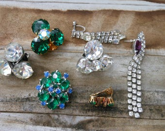 Vintage rhinestone earring lot collection Green Bue Purple clips large rhinestone earrings upcycle juliana gorgeous group jewel colors