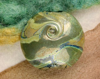 "Handmade Lampwork Beads ""Silvered Landscape VI"" SRA Glass Focal Bead Lentil ~ OOAK Unique"