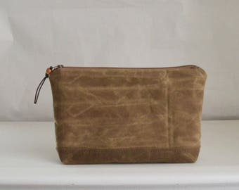 Brown Waxed Canvas Wide Padded Zipper Pouch Gadget Case Cosmetics Bag - READY TO SHIP
