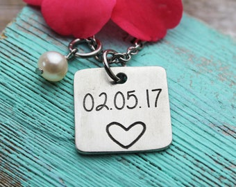 Square Wedding Date Charm Necklace, Fine Pewter