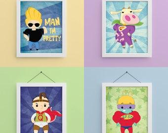 Cartoon Heroes 2 8x10 Prints