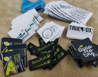 600pcs Personalized Woven Labels, Hem Tags for Hoodies, Socks, T-Shirts, Tops, Bottoms, Capris, Pants, Jeans, Skirts, Vests