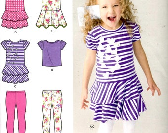 Sewing Pattern - Simplicity 1435 Sewing Pattern - Girl's Knit Dresses, Top and Capri Leggings - Sizes 3, 4, 5, 6, 7, 8