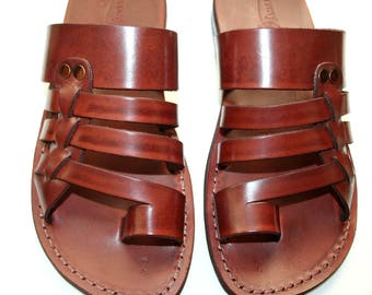 CLEARANCE SALE - Brown Skate Leather Sandals for Men & Women - EURO # 46 - Handmade Unisex Sandals, Genuine Leather Sandals, Sale