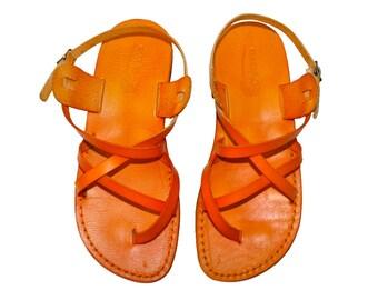 CLEARANCE SALE - ORANGE Triple Leather Sandals - All Leather Sole  - Euro # 39 - Handmade Unisex Sandals, Genuine Leather, Sale
