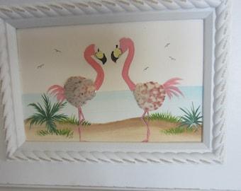 Sea Shell Painting ***Hand Painted  Flamingo Shell Art