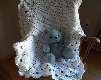 Christening Blanket, Lacy Baby Afghan, in White