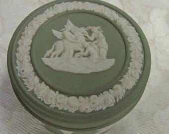 Vintage Green Wedgewood Jar, Sage Green Lidded Box, Jasperware Wedgewood Box Sage Green And White Box, Trinket Box