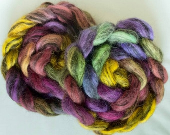 Icelandic Humbug, hand dyed fibre, felting projects, felting materials, Handspinning. Hand painted spinning wool, spindling, combed tops,