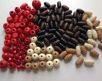 Red and Brown Wood Beads