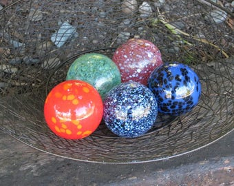 """Random Colorful Set of Five 3"""" Floats, Home or Garden Decor, Hand Blown By Avalon Glassworks"""