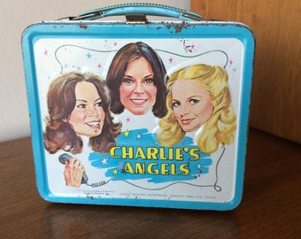 Vintage 1970's Charlies Angels Metal LunchBox with Cheryl Ladd, Jaclyn Smith, Kate Jackson TV Show Celebrity Collectible Lunch Box