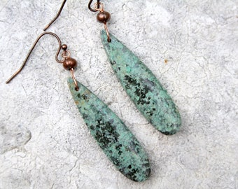 Turquoise earrings, turquoise jewelry, natural stone earrings, dangle earrings, turquoise drop, boho earrings, bohemian jewelry