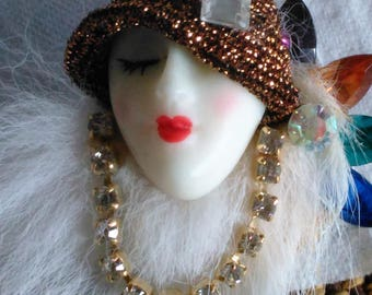 Lady's Head White Fur Brooch Pretty Woman with Necklace