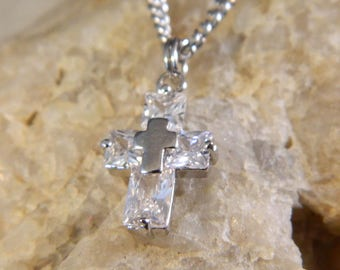 Cubic Zirconia Crystal Cross Necklace