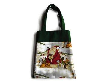 Christmas Santa And Cat Bag - Goodie Bag - Mini Tote