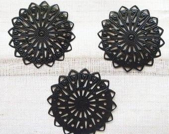 Black filigree pendants round