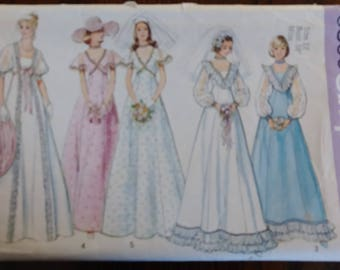 Simplicity 6399 Wedding Bridesmaid Dresses 1974 Empire Waisted Size 12 Bust 34