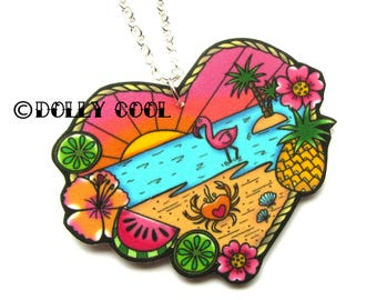 Tropical Beach Scene Necklace by Dolly Cool 40s 50s Reproduction Vintage Style Novelty Print