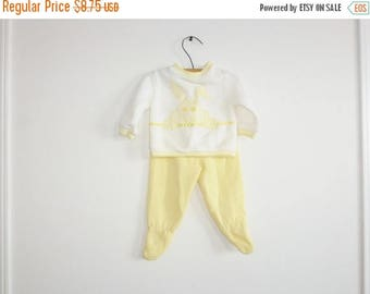 SALE // Vintage Yellow and White Baby Outfit