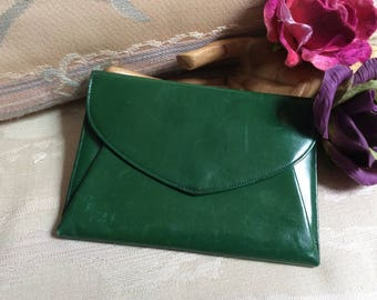 Vintage dark green leather mirror make up case, Marioness fold out mirror lipstick bag, forest green leather envelope style mirror case