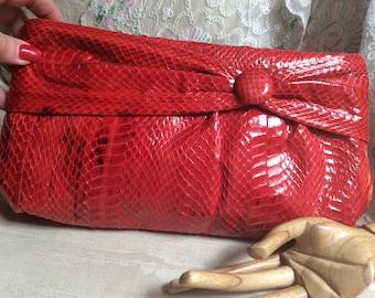 Vintage lipstick red snake skin clutch/shoulder bag, rich red snake skin purse, made Hong Kong red snake skin special event clutch bag