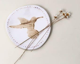 ring plate-hummingbird-decorative plate-gift for her-bird-bird plate-ceramic-handmade-gift for him-rustic-gold-speckled-humming bird plate