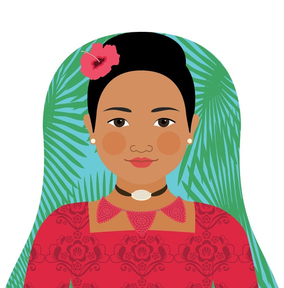 Tongan Doll Art Print with traditional folk dress, matryoshka